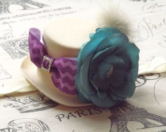 Tea Party Hats Birthday Party, Mad Hatter Hat, Mini Top Hat Fascinator Headband, Baby Girls Headbands, Half Birthday Party, Baby Girls Bows