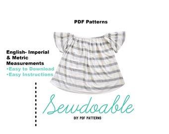 Off the Shoulder Top PDF Pattern 3/6M- 4Y