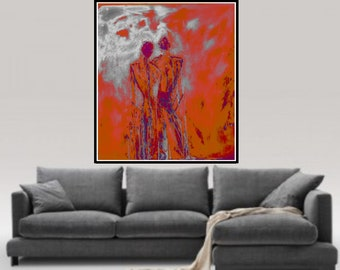 Print on canvas, Original acrylic painting, giclee canvas print, acrylic painting on canvas, Living Room Wall Art abstract figurative Art