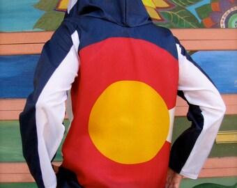 Windbreaker - colorado - mens clothing - hoodie colorado - mens jacket- hoodie - windbreakers - clothing - upcycled clothing - colorado flag
