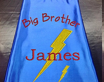 Superhero cape  Kid's  cape, Big Brother Lightning Bolt cape Custom Embroidered   Personalized with Name