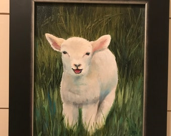 Original oil painting on canvas of a baby lamb. Titled: Bah-ha-ha!