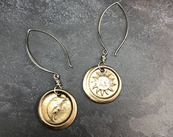 Bronze and Sterling Sun and the Moon Earrings