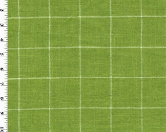 Designer Cotton Kiwi Green Windowpane Home Decorating Fabric, Fabric By The Yard