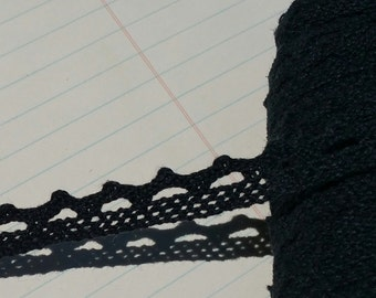"Black Cluny Lace - Narrow Black Cluny Crochet Torchon Trim - 1/2"" Wide"