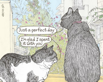 Cats magnet - Perfect day -  featuring Rafi and Spageti, the famous Israeli cats from Ha'aretz Newspaper Comics