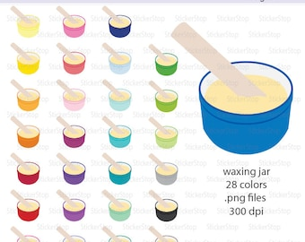 Waxing Jar with Wax Digital Clipart in Rainbow Colors - Instant download PNG files