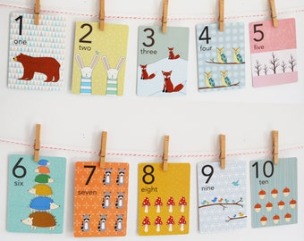 Forest Numbers Counting Card Set, Nursery Wall Cards, Numbers 1-10 Flash Cards, Numbers Fine Art Prints, Counting Cards