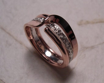 Copper Two Turn Wave Energy Ring™  and A Mock Pavé™ Textured Sterling Band Insert Ring