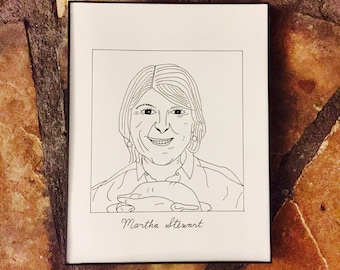 "Subpar Martha Stewart Portrait Drawing Print / Hand-Drawn / TV / Movie / 8.5"" x 11"" / Thick Card Stock Paper!"