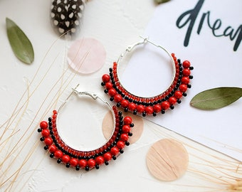 Red Coral Earrings Boho Earrings Gift for Mom from Daughter Red Hoop Earrings Coral Jewelry Gift Gypsy Earrings Gemstones Earrings Red