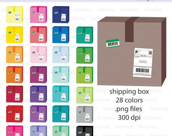 Colorful Shipping Box Icon Digital Clipart in Rainbow Colors - Instant download PNG files