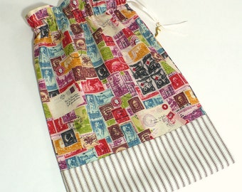 Travel, Shoe Bags, Postage Stamps, Storage, Set of 2, multi-color, drawstring