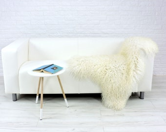 "Giant curly cream colour Icelandic single sheepskin rug | large & luxurious | ""Mongolian style"" decorative rug, chair cover, throw 