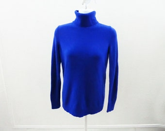 100% Cashmere Sweater Size S Royal Blue Turtleneck Womens Talbots Jumper