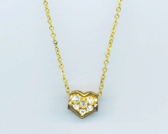Vintage Gold Plated Pendant . Slide Heart Charm Pendant . Pave-set Crystal Rhinestone Charm Pendant  - Lips/ Heart by enchantedbeas on Etsy