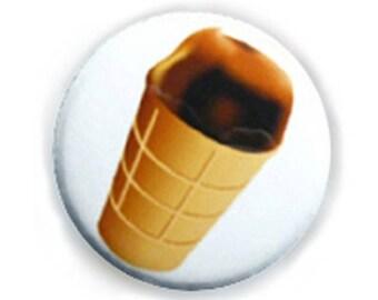 Badge CONE ice Big chocolate ice cream gourmet chocolate Kawaii button pins - Ø25mm - 1 inch