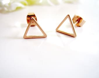Rose Gold Earrings, Triangle, Modern, Tiny, Everyday earrings, Geometric, Post style Earrings, Minimalist Jewelry, Redpeonycreations