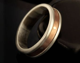 Copper Men's Wedding Band, Wide Copper Ring, Silver and Copper Ring, Rustic Man's Band, 6 mm Copper Engagement ring, Textured Ring, RS-1246