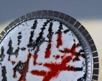 Enamel Brooch - Enamel Pin - Silver Enamel Brooch - Modern Brooch - Enamel Pin - Geometric Pin - Black White Red - Art Jewelry - Silver Pin