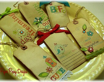 ALL OCCASION TAGS Fun, Bright and Adorable for Gifting, Crafts, Scrapbooking...by Paper Posey CSSTeam