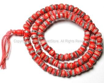 108 beads - 8mm Tibetan Prayer Beads - Red Bone Mala Prayer Beads with Brass, Copper, Turquoise & Coral Inlays - PB13S