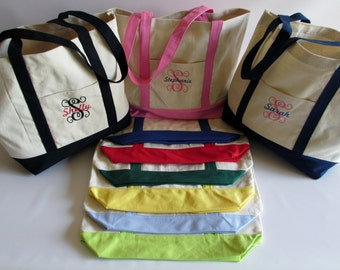 Custom Embroidered Tote Bag All Cotton Canvas - Personalized - Boat - embroidered - monogrammed - bridesmaid