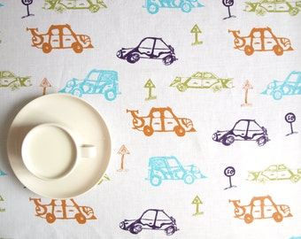 Linen tablecloth white blue orange purple cars Eco Friendly , also table runner , napkins , pillows , curtains available , eco GIFT