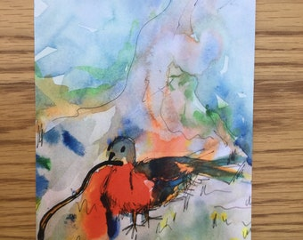 """Watercolour """"Free to Fly Red Bird' A5 Print"""