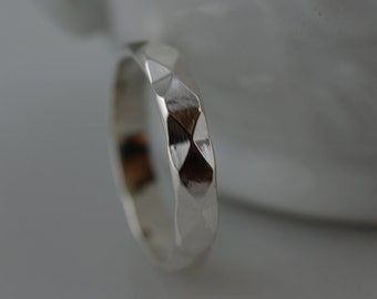 Sterling Silver Diamond Pattern Ring - Silver Stacking Ring