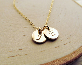 Couples Necklace, 14kt Gold Filled Initial Necklace, Boyfriend Girlfriend Jewelry, Wedding Gift, Two Initial Necklace, Valentines Gift