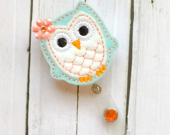 Cute Teal Cream Coral Owl Nurse Badge Holder - Felt Badge Reel - Unique Retractable ID Badge Holder - Lanyard - professional RN