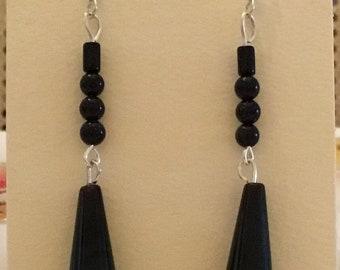 Black onyx and black stone  drop earrings