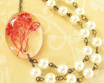 Real Flower Necklace Pressed Flower Jewelry Real Flower Jewelry Resin Jewelry