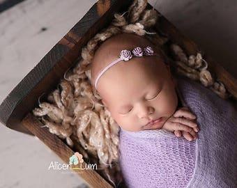 LAVENDER TINY Rose Headband, Newborn Headband, Lavender Headband, Baby Girl Headband, Lavender Headbands, Newborn Photo Prop, Baby headbands