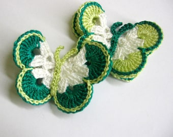 Crocheted Butterfly Appliques, 3 inches, handmade, jade, light green and white, 2 pc.