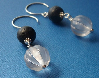 Moon Beam - Vintage Lucite Sterling Silver Earrings - Paw & Claw Designs