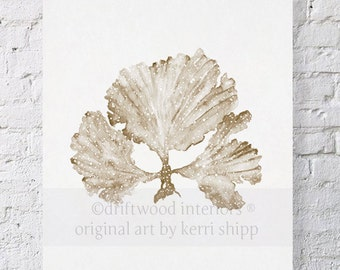 Seaweed II in Natural Watercolor Print 8x10 - Coral Art Print - Watercolor Art Print - Taupe Coral Print