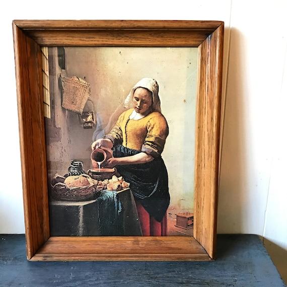 vintage print - The Milkmaid - Johannes Vermeer - Dutch Master - framed lithograph - farmhouse kitchen art