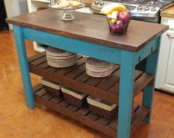 Custom Hand Built Kitchen Island - Already Assembled - FREE SHIPPING