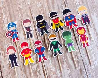 Superhero Cupcake Toppers, Pop Art Cupcake Toppers - Set of 12 Toppers
