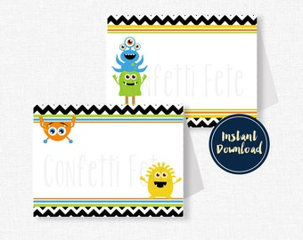 Little Monster Food Labels, Buffet Cards, Monster Table Place Cards, Monster Party Decorations, Printable Food Labels INSTANT DOWNLOAD