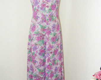Vintage 1960s Butterfly Collar Long Floral Dress