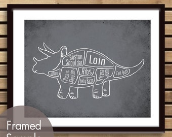 Triceratops, Dinosaur Butcher Diagram Series - Art Print (Featured in Charcoal) (Buy 3 and get One Free)
