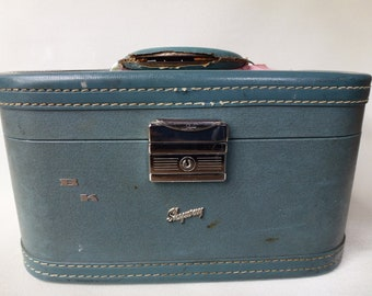 Vintage Skyway Carry On Bag Hard Sided Luggage Antique Blue Luggage 1950's Mid Century Makeup Bag Craft Storage