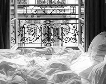Paris Photography, Morning in Paris, Parisian Window, Bedroom Scene, Paris Photography Print, Parisian,French, Gift for the Francophile