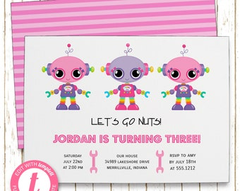 Girly Robots Invitation | Girls Robots Kids Birthday Party | Printable Editable Digital PDF File | Instant Download | Templett | KBI211DIY