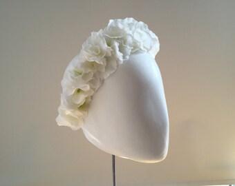 Flower Headband, Floral Headband, Wedding Headband, Bridal Headband, Party Headband, Festival Flower Crown: White Silk Hydrangeas