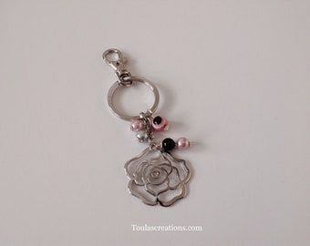 Silver Rose Outline Keychain/Silver Rose Charm/Zipper Pull Charm/Pink Pearls/Silver Pearl Beads/Black Pearl Charm/Purse Charms/BFF Gift/