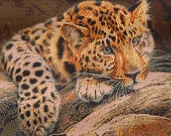 Cross Stitch kit - Leopard 31cm x 25cm